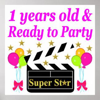 1 YEAR OLD SUPER STAR BIRTHDAY DESIGN POSTER