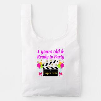 1 YEAR OLD SUPER STAR BIRTHDAY DESIGN REUSABLE BAG