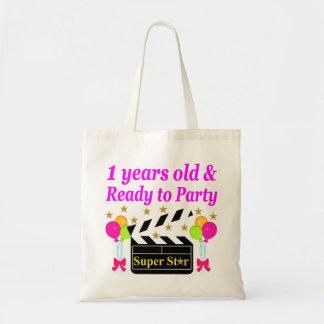1 YEAR OLD SUPER STAR BIRTHDAY DESIGN TOTE BAG