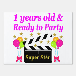 1 YEAR OLD SUPER STAR BIRTHDAY DESIGN YARD SIGN