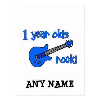 1 year olds rock! Personalized Baby's 1st Birthday Postcard