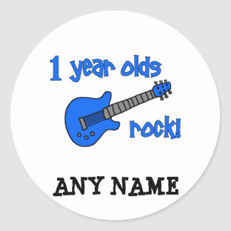 1 year olds rock! Personalized Baby's 1st Birthday Classic Round Sticker