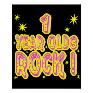 1 Year Olds Rock! (Pink) Poster Print