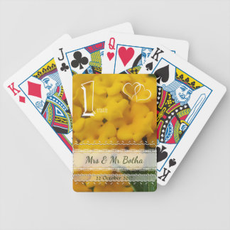 1 year (yellow) wedding anniversary keepsake bicycle playing cards