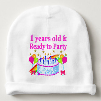 1 YEARS OLD AND READY TO PARTY BIRTHDAY GIRL BABY BEANIE