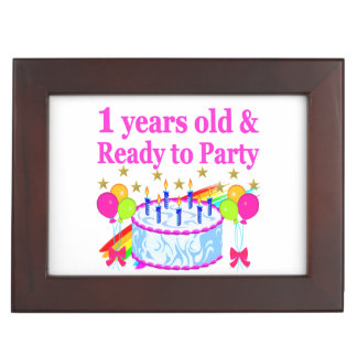1 YEARS OLD AND READY TO PARTY BIRTHDAY GIRL MEMORY BOX