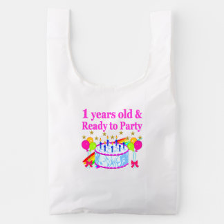 1 YEARS OLD AND READY TO PARTY BIRTHDAY GIRL REUSABLE BAG