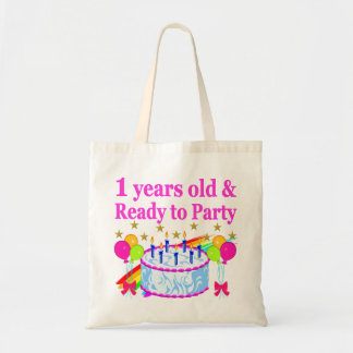 1 YEARS OLD AND READY TO PARTY BIRTHDAY GIRL TOTE BAG