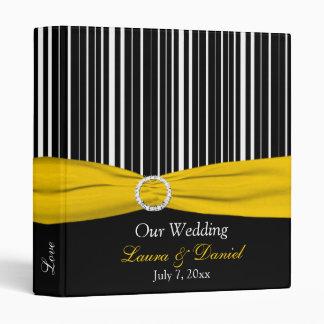 "1"" Yellow, Black, and White Striped Wedding Binder"