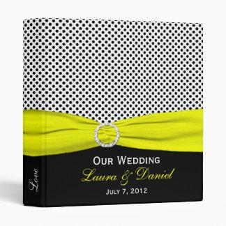 "1"" Yellow, Black, White Polka Dots Wedding Binder"