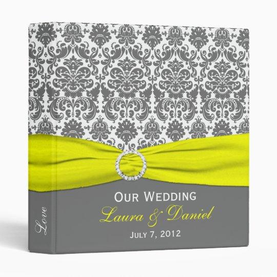 "1"" Yellow, Gray, and White Damask Wedding Binder"