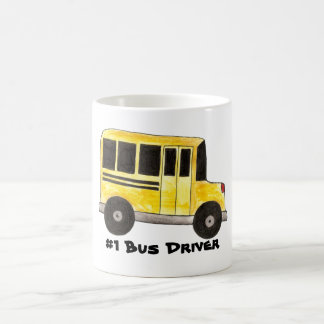 #1 Yellow School Bus Driver Teacher Gift Mug