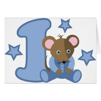 1 Yr Old Baby Mouse Birthday Gift Card