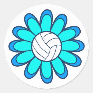 1Aqua Volleyball Girl Classic Round Sticker