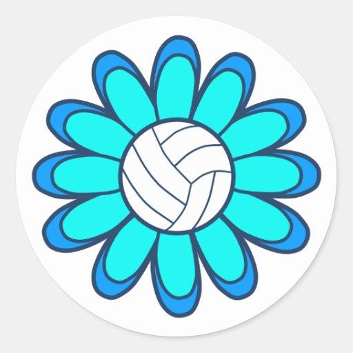 1Aqua Volleyball Girl Round Stickers