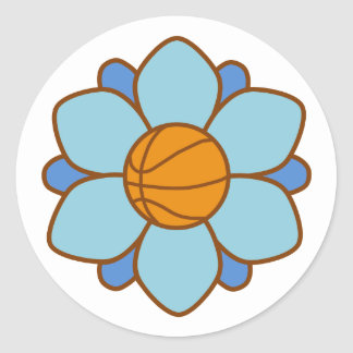 1Blue Basketball Girl Classic Round Sticker