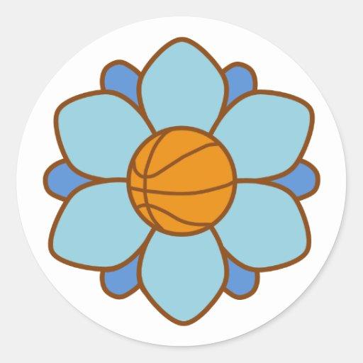 1Blue Basketball Girl Round Stickers