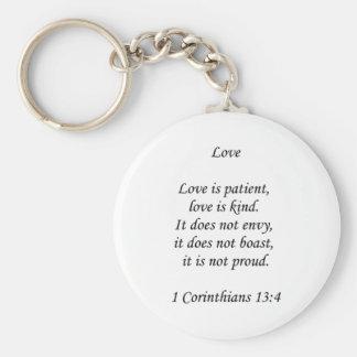 1corinthians13-4 ~ Love Basic Round Button Keychain