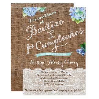 1er cumple y Bautizo, invitaciones niño Card