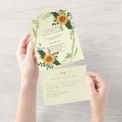 1in3 Sunflowers Greenery Wedding RSVP Invites
