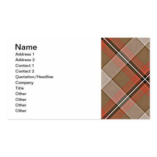 1JPEG BROWN RED WHITE BLACK PLAID PATTERN TEXTURES Double-Sided STANDARD BUSINESS CARDS (Pack OF 100)