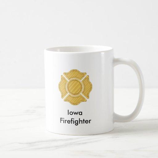 1LOGO11,       bombero     de Iowa Tazas De Café
