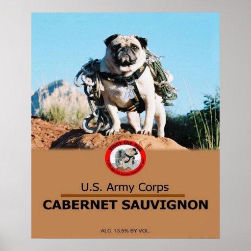 1Lt. Vincent Thomas Pugs Private Label Wine Poster