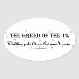 1PctGreedMarie Oval Sticker