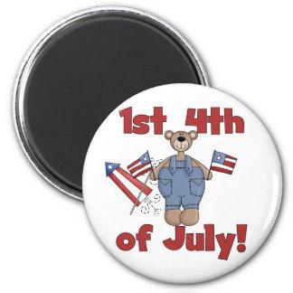 1r 4to de las camisetas y de los regalos de julio imán de frigorifico