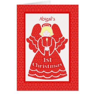 1r ángel del navidad del bebé para el nombre de en felicitacion