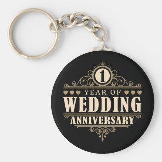 1r Aniversario de boda Llavero Redondo Tipo Pin
