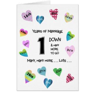1r aniversario de los corazones felices tarjeta de felicitación