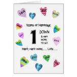 1r aniversario de los corazones felices tarjeton
