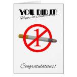 1r Aniversario del abandono que fuma la tarjeta de