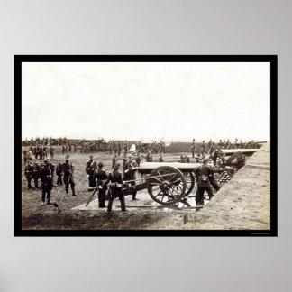 1r Artillería pesada de Connecticut en el fuerte R Póster