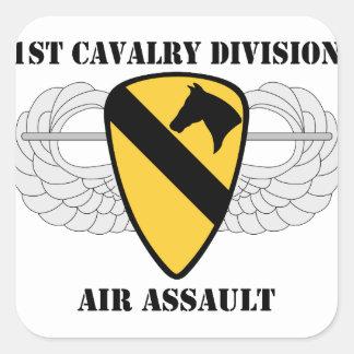 1r Ataque aéreo de la división de la caballería - Pegatina Cuadrada