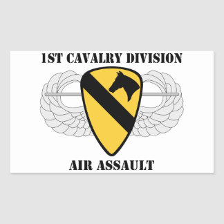 1r Ataque aéreo de la división de la caballería - Pegatina Rectangular