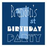 1r azul del cumpleaños del niño moderno conocido d invitacion personalizada