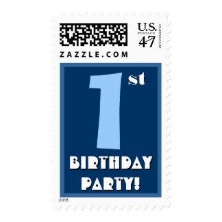 1r Azul intrépido de la fiesta de cumpleaños y Sellos