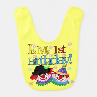 1r babero del cumpleaños de los payasos tontos