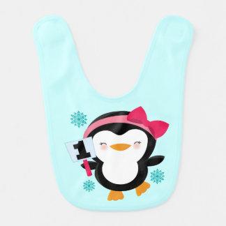 1r babero del cumpleaños del bebé (pingüino)