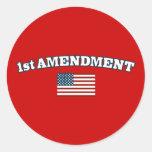 1r Bandera americana de la enmienda Pegatina Redonda