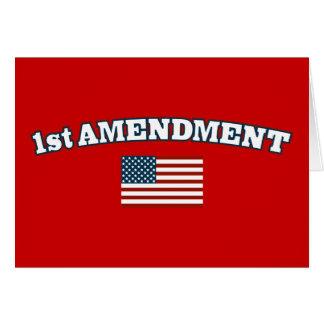 1r Bandera americana de la enmienda Tarjeta De Felicitación