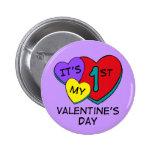 1r Botón de los corazones del el día de San Valent Pins