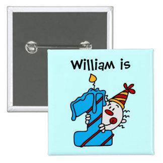1r botón del cumpleaños del payaso azul de la vela pin cuadrado