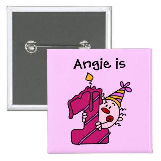 1r botón del cumpleaños del payaso rosado de la ve