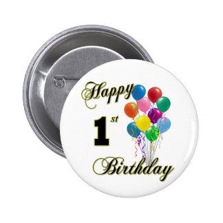 1r botón del cumpleaños y ropa felices del cumplea