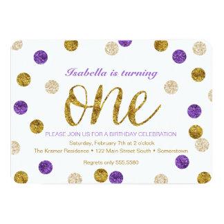 """1r Brillo Cumpleaños-Púrpura y del oro Invitación 5"""" X 7"""""""