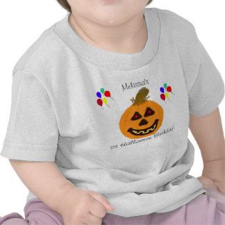 1r Calabaza del cumpleaños de Halloween y camiseta