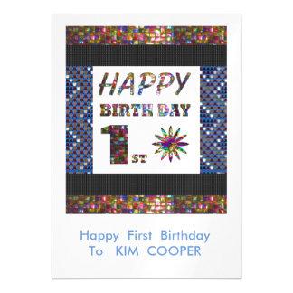1r cambio del cumpleaños o msg felices 1ros del invitaciones magnéticas
